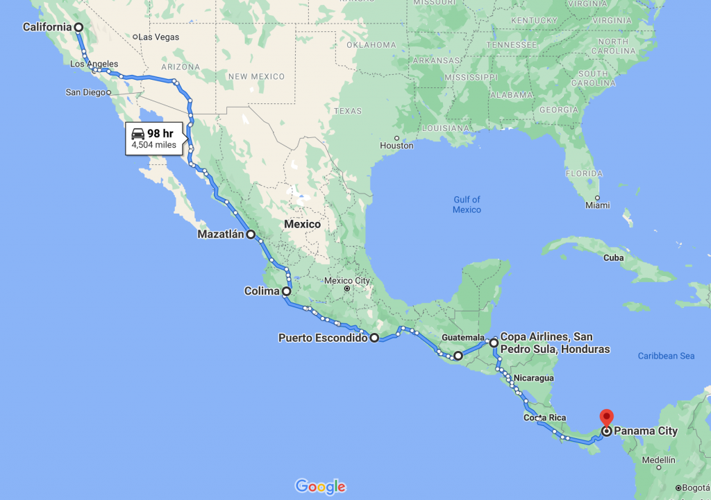 Map Of Drive From California to Costa Rica