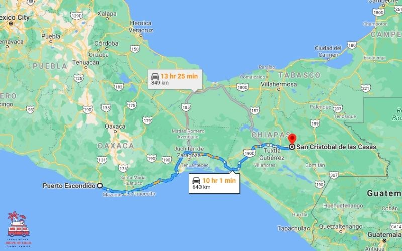 Puerto Escondido – San Cristobal de Las Casas (Route 1)